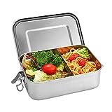 Shinemefly Brotdose Edelstahl mit Fächern, 1200ml Lunchbox Edelstahl Auslaufsicher, Lunch-Boxen Auslaufsicher BPA-frei Bento Box für Kinder & Erwachsene