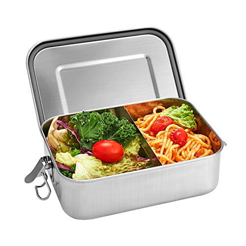 Shinemefly Lunch Box Inox Hermétique, Boîte à Déjeuner en Acier Inoxydable sans BPA Bento Boîte à Repas avec Compartiment Amovible (1200ML)