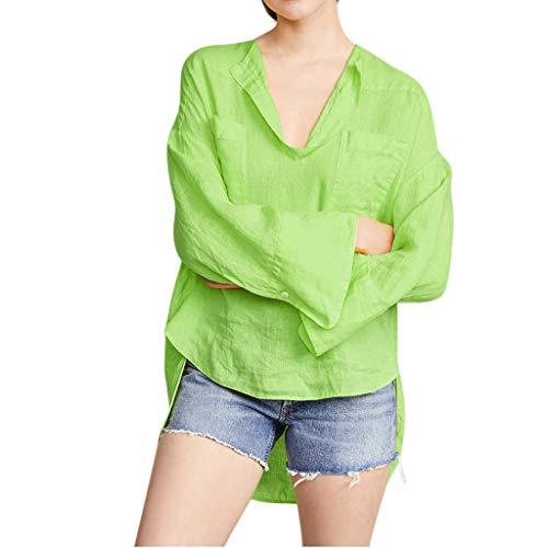 SHINEHUA linnen blouse dames linnen blouse elegant lange mouwen vrijetijdsbovendeel casual linnen shirt basic lange mouwen herfst longshirt tops bovenkant tuniek hemd blousenshirts 3XL groen