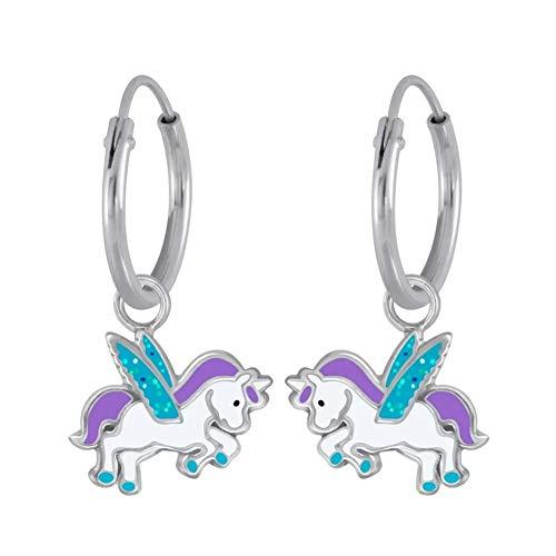 Laimons Mädchen Kinder-Ohrhänger Creole Ohrringe Kinderschmuck Einhorn Stecker Unicorn Pegasus 8mm Tuerkis, Lila und Weiß mit Glitzer Sterling Silber 925