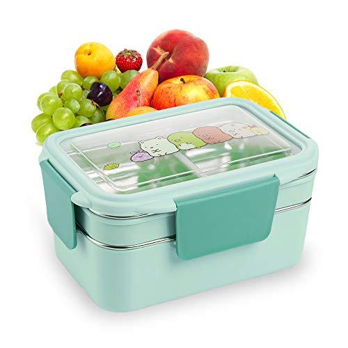 LxwSin Caja bento de doble capa, Caja bento de acero inoxidable, Fiambrera impermeable ajustable para clasificación de alimentos, fiambrera de acero inoxidable ecológica para refrigerios de falafel