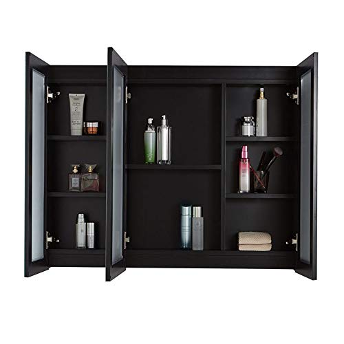 JOMSK Armadio di Stoccaggio Medicina de Aluminio Gabinete Puerta Triple Tri-Vista Mueble de baño Espejo Armario de Almacenamiento for baño (Color : Black, Size : 120x70x13cm)