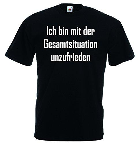Fruit of the Loom Ich Bin mit der Gesamtsituation unzufrieden T-Shirt Funshirt|schwarz-M