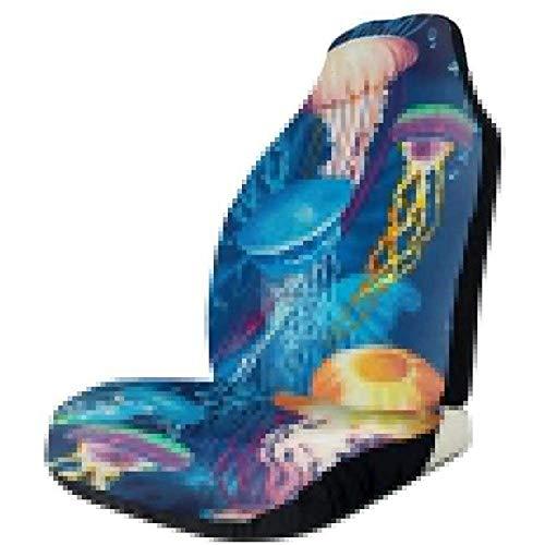 2 stuks autostoelhoezen volledige set - gekleurde, met kwallen bedrukte autostoelhoezen, autostoelhoezen, geschikt voor de meeste auto-, vrachtwagen-, SUV- of van-modellen