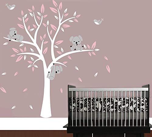 AIYANG kinderkamer muurtattoo, koala-boom-muursticker kinderdagverblijf sticker vogels koalas muursticker wit, roze