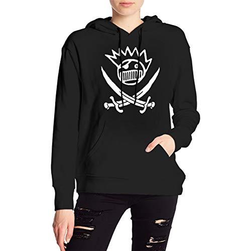 RUIANSHISHENGYOUDA Ween Pirate Logo Womens Pullover Coat Loose Fleecesgirls Shirt Knitting Black