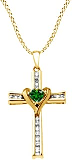 Simulated Green Emerald & Natural Diamond Cross & Heart Two Tone Pendant Necklace in Sterling Silver