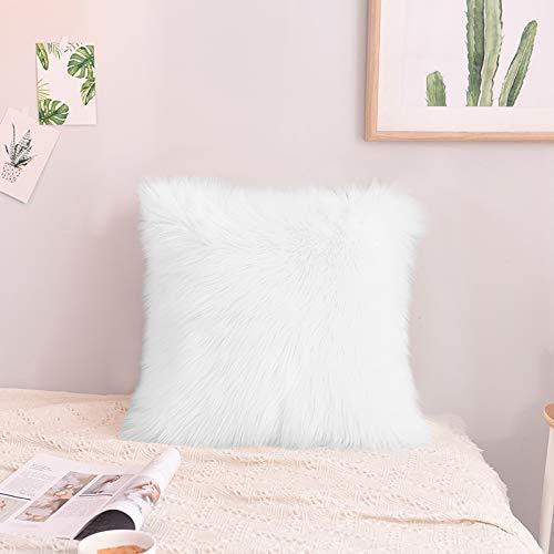 Faux Fur Pillow Case, Kmeivol Super Soft Shag Pillow Case 18 x 18 inch, Home Decorative Fur Pillows Case, Decorative Throw Pillows Case, Furry Pillows Decorative Throw Pillows for Bedroom