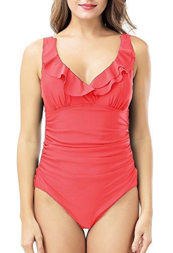 Amourri Women's Swimwear Tummy-Hide Underwire Ruffled One Piece Swimsuit for women