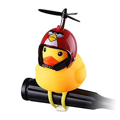 Jackky Duck Bike Bell for Kid, Squeeze Horn Loud Quack Sound, Cycling Light Cute Rubber Duck Toy for Toddler Kids Girls Boys Adult (Captain)