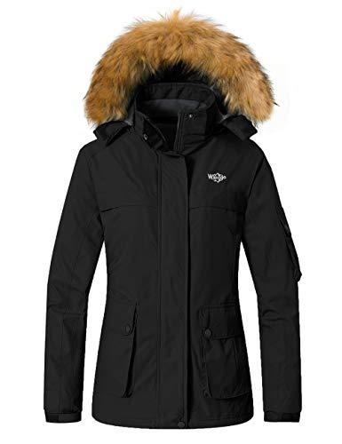 Wantdo Women's Waterproof Ski Jacket Windproof Winter Snow Coat Mountain Raincoat Fleece Parka