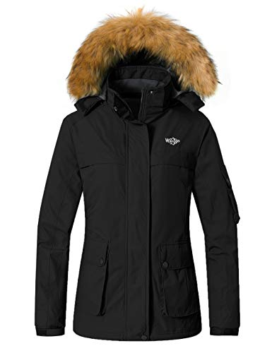 Wantdo Women's Waterproof Ski Jacket Warm Snow Coat with Removable Hood Black XL