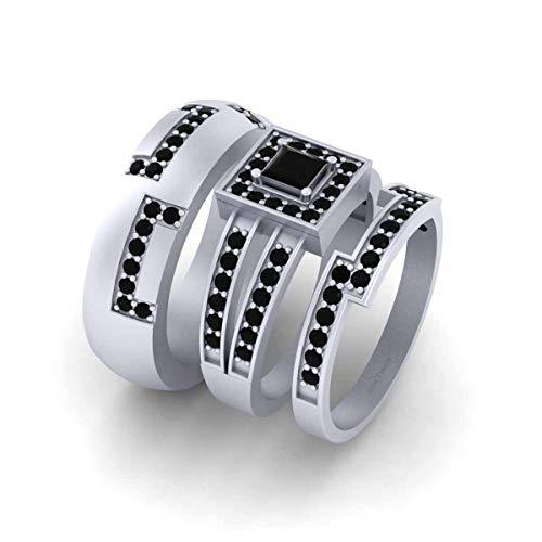 Anillo de boda con diamantes negros de halo para él y ella de plata de ley 925 maciza para parejas