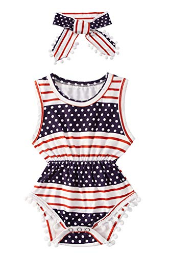 Infant Girls Flag Rompers for Toddlers 4th of July Cute Navy Blue Patriot Bodysuits Crewneck Buttons...