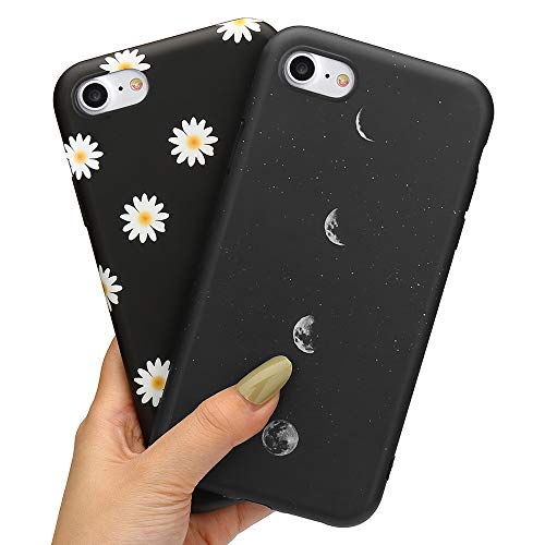 LLZ.COQUE 2 Pack Handyhülle Kompatibel mit iPhone 7/8/SE 2020 Hülle Gänseblümchen Schutzhülle TPU Hülle Slim Hülle Cover Mond matt Handyhülle für iPhone 7/8/SE 2020 Hülle Mond und Gänseblümchen