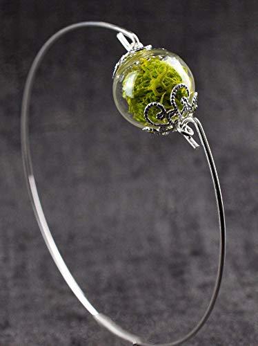 Armreif mit Islandmoos Glaskugel - Versilbert - Öffnung Seitlich - 6,4cm