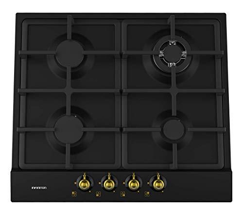 IN Placa DE Gas 4 Fuegos INFINITON (Parrillas Hierro, Encendido electronico, Quemadores Desmontables) (Rustica (GAS4RO))