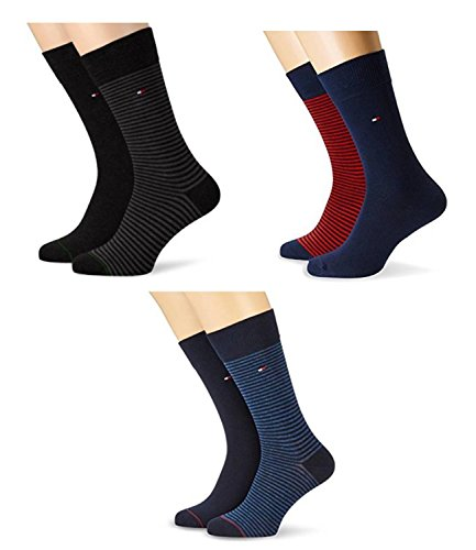 2 pairs TOMMY HILFIGER Men's SMALL STRIPE Socks Gr. 39 - 46 Business sneaker socks, Farben:200 - black;Bekleidung:L