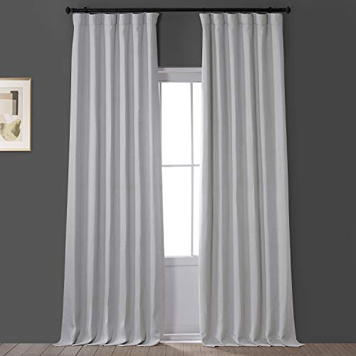 HPD Half Price Drapes BOCH-LN1855-96 Faux Linen Blackout Room Darkening Curtain (1 Panel), 50 X 96, Oyster
