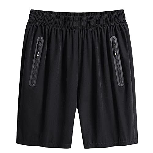 Pantalones Cortos Deportivos de Secado rápido para Hombre Color sólido Simple Cómodo básico Versátil Pantalones Cortos de Entrenamiento Transpirables con Bolsillos con Cremallera 4XL