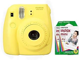 """كاميرا فوجي فيلم """"انستاكس ميني 8"""" الفورية - أصفر - مع 2 عبوة انستاكس ميني فيلم ( 10 لكل عبوة)"""