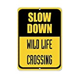 BridgetWhy50rallentare Wild Life Crossing Traffic Decorative Signs Sayings Metal Aluminum Wall Sign Safety Sign