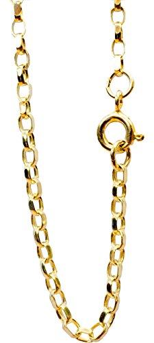 ANTOMUS 18K GOLD VERMEIL SOLID DIAMOND CUT ENGLISH BELCHER CHAIN 2.3mm Wide 20 inch