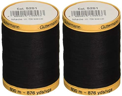 Gutermann 2 Pack Natural Cotton Thread Solids 876 Yards Each Black 800C 5201 product image