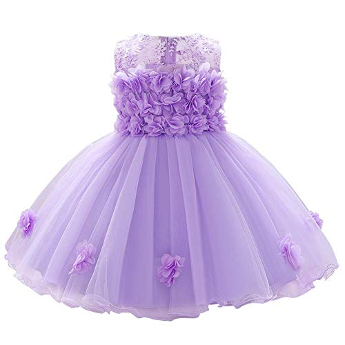 Baby Flower Girl Dresses Infant Toddler Kid 1st 2nd Birthday Party Dress Lace Flower Embroidered Pageant Wedding Bridesmaid Evening Summer Sleeveless Princess Tutu Tulle Gown Light Purple 12-18M