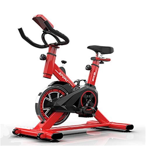 spinfiets Silent Belt Drive Indoor Cycle Bike met lederen weerstand Pad Indoor Cycling Bike, Dual Felt PResistance met gekooide pedalen, verstelbare stoel en stuur