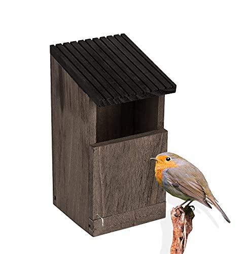 BigDean 1x Nistkasten Rotkehlchen Nest Vogelhaus aus Natur Holz Braun Grau Bruthöhle Nisthaus offen für Wildvögel