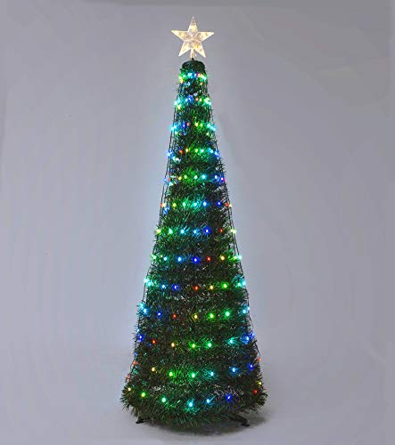 Bolylight Outdoor Christmas Tree 5ft Artificial Tree with Lights 234 LED Lighted Tree with 18 Light Flash Modes Remote Control for Home Office Living Room Indoor Festival Decoration Adaptor Operated
