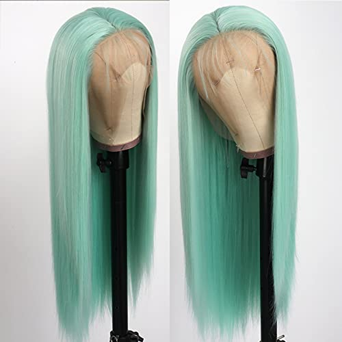 Lovestory Long Straight Synthetic Lace Front Wig Green Color Heat Resistant Fiber Synthetic Lace Hair Wigs With Baby Hair For Women