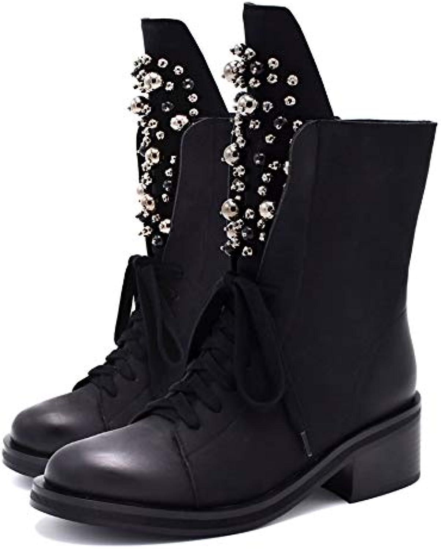 VIMISAOI Women's Comfort Warm Zipper Casual Ankle Martin Boots