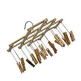 Qinghengyong Bambú 16 Clip Tendedero Plegable de lavandería Clothespins...