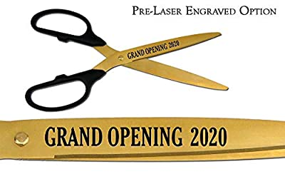 "Pre-Laser Engraved ""GRAND OPENING 2017"" 25"" Gold Ceremonial Ribbon Cutting Scissors"