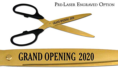 Check Out This Pre-Laser EngravedGrand Opening 2020 36 Black/Gold Ceremonial Ribbon Cutting Sciss...