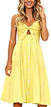 ECOWISH Womens Dresses Summer Tie Front V-Neck Spaghetti Strap Button Down A-Line Backless Swing Midi Dress 1603 Yellow XL