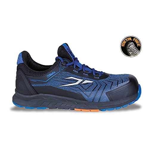 Beta 73520142 7352B Schuhe 0-Gravity, Arbeitsschuhe (Größe 42, Ultraleicht, aus Mesh-Gewebe, hoch atmungsaktiv, mit Zehenschutzkappe 200 Joule, Zwischensohle aus Eva), Schwarz/Blau, EU