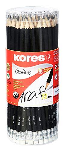 Kores - Grafitos: Bleistifte mit dem Härtegrad HB für Kinder und Erwachsene mit Weicher Mine und Radiergummi, Sechseckige Form, Schul- und Bürobedarf für Schreiben, 72 Stück Packung