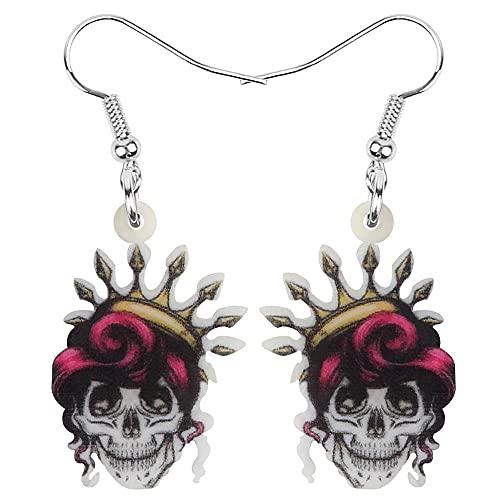 YDXC Pendientes de Esqueleto de acrílico para Mujeres y niñas Calavera Vintage Estilo Festival Aplicar a Fiestas Fiestas de Baile Etc-Gray