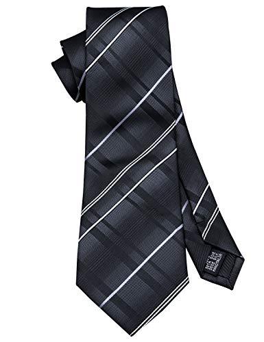 Barry.Wang Black Stripe Tie Set Handkerchief Cufflinks Business Neckties for Men Woven