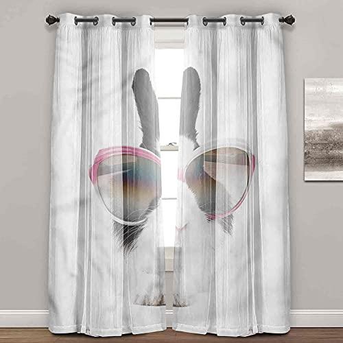 Cortinas de ventana para dormitorio, divertidas, diseño de conejito en gafas de sol, cortinas de ombre para sala de estar (2 paneles de ancho 122 x largo 63 pulgadas)