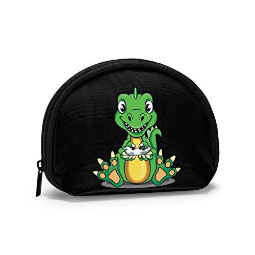 Dinosaurios de dibujos animados jugando juegos cambio de dinero clave embrague pequeña cremallera cartera Shell bolsa de almacenamiento