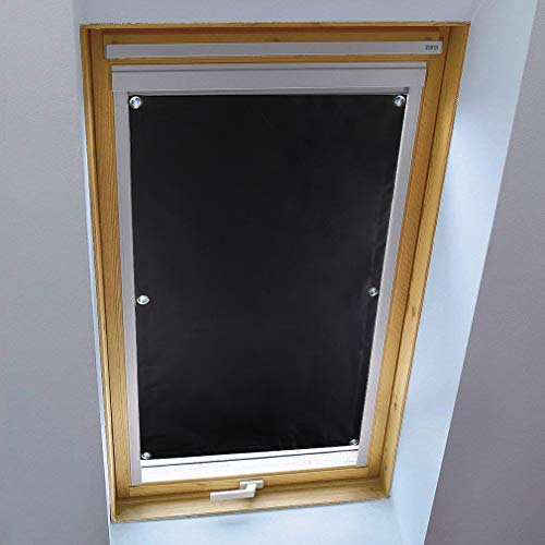 KINLO Thermorollo für Velux S06 und 606 – 96 x 93cm Dachfensterrollo Schwarz Sonnenschutz Verdunkelungsrollo für Dachfenster aus 100% Polyesterfasern ohne Bohren mit Saugnäpfe