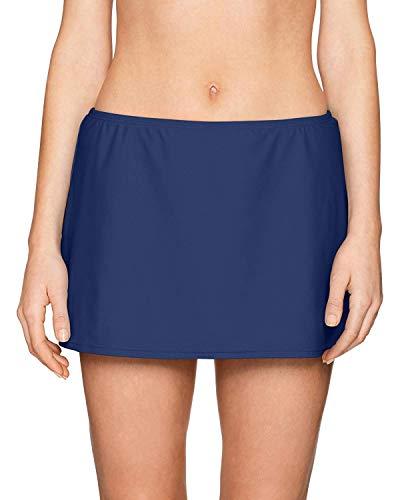 24th & Ocean Women's Solid Skirted Hipster Bikini Swimsuit Bottom, Navy, Extra Large