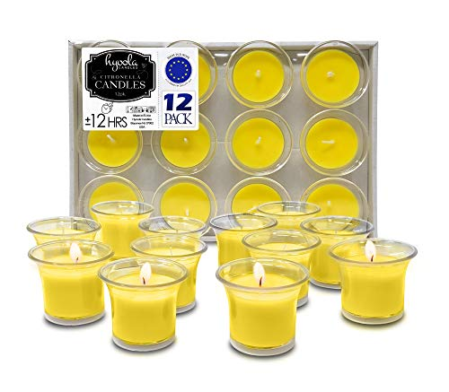 HYOOLA Clear Cup Filled Citronella Votive Candles - 12 Hour Burn Time - 12-Pack, Ideal Bug Repellent Candles, European Made