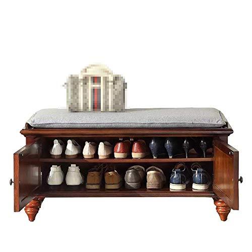XUSHEN-HU Zapatero con 2 puertas, banco de zapatos para pasillo (color: marrón, tamaño: 80 x 40 x 46 cm)