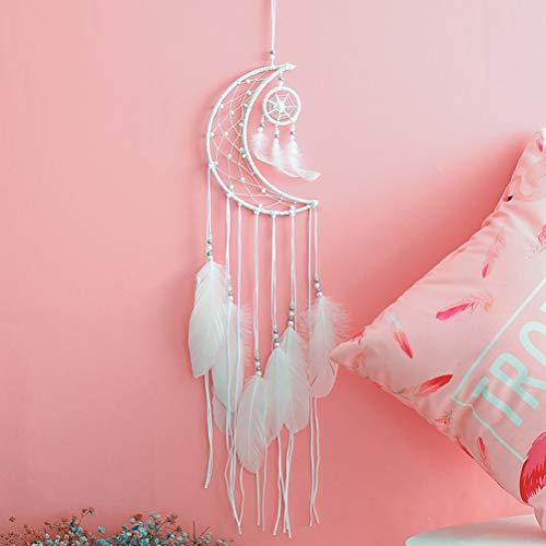 Tyhbelle Traumfänger Handgefertigt Weiß-Mond Dreamcatcher indischen Gute Träume für Zimmerdekoration (Weiß-Mond)