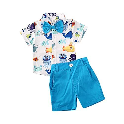 Conjunto de ropa de verano para bebés y niños, con rayas y pantalones cortos, 2 unidades - Azul - 4-5 años